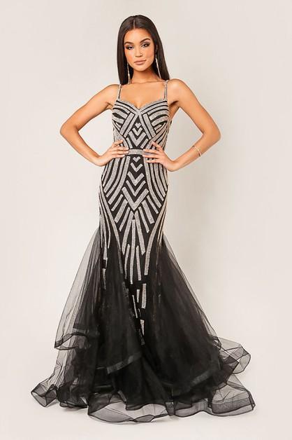 b12180ac96e Tulle Embellished Mermaid Dress - orangeshine.com