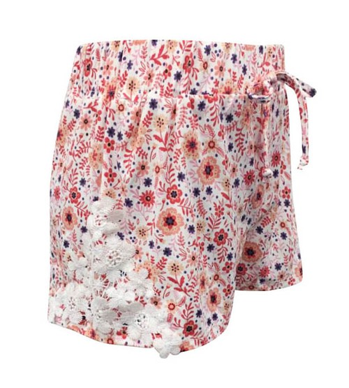 Girls Pink Floral Shorts Kids Bottom - orangeshine.com