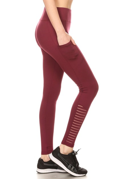 Solid Mesh Sport Leggings Yoga pants - orangeshine.com