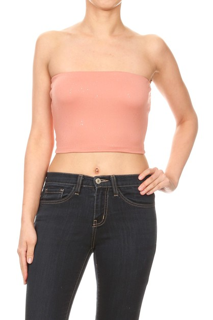 Solid Cropped Tube Tops Glitter Boho - orangeshine.com