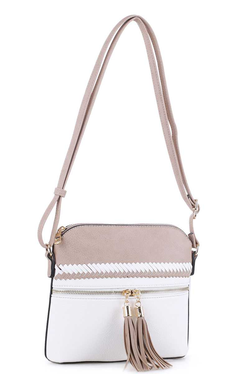 TWO COLOR TASSEL CROSSBODY BAG - orangeshine.com
