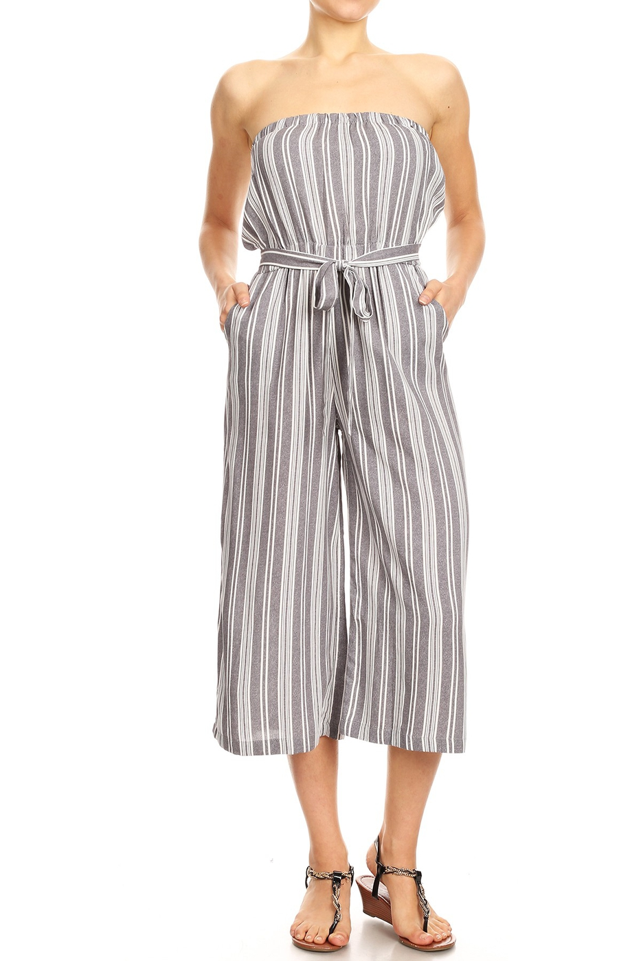Stripes Cropped Wide Legs Jumpsuits  - orangeshine.com