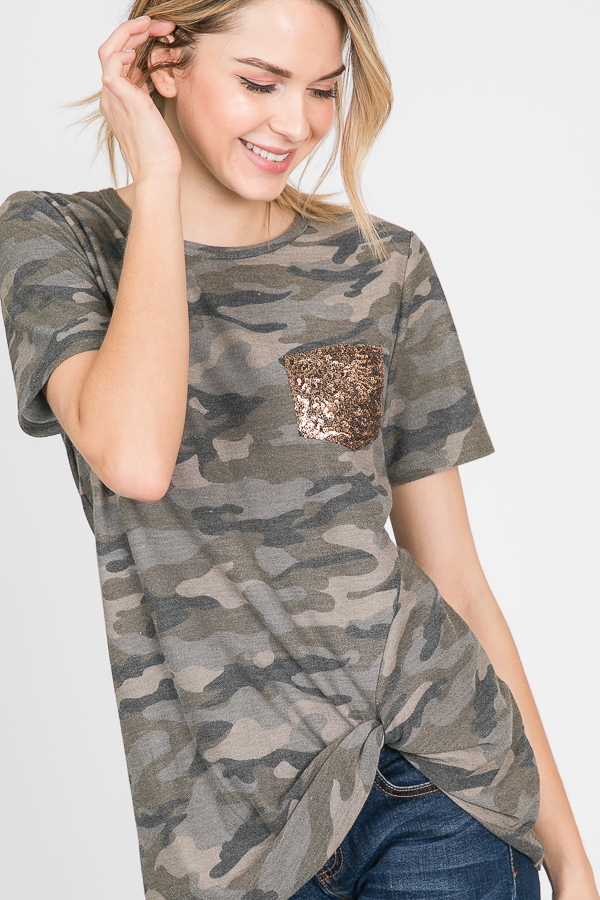 CAMO TOP WITH SEQUINS POCKET - orangeshine.com