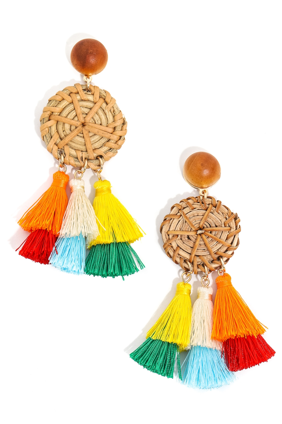 Tiered Disc and Tassel Earrings - orangeshine.com