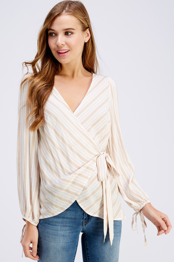 Lay Over Tie Waist Stripe Print Top - orangeshine.com