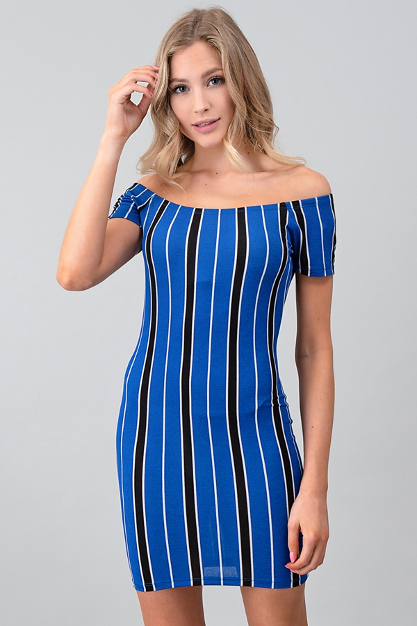 VERTICAL STRIPE OFF SHOULDER DRESS - orangeshine.com