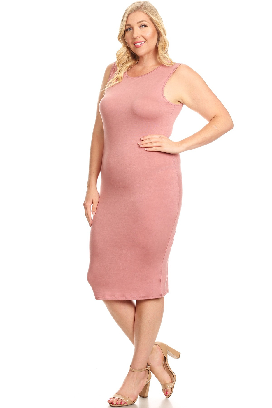 Sleeveless Body-con Solid Midi Dress - orangeshine.com