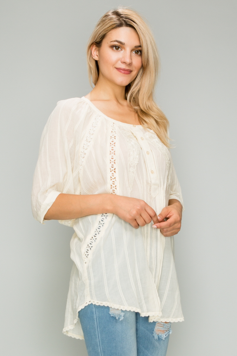 Pintucked Henley Crochet Tunic top - orangeshine.com