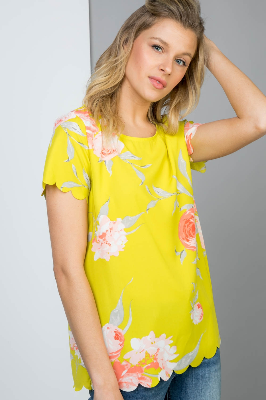 All Over Scallop Tee in Boho Floral - orangeshine.com