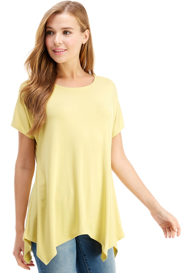 Cap Sleeve Basic Asymmetric Tunic  - orangeshine.com