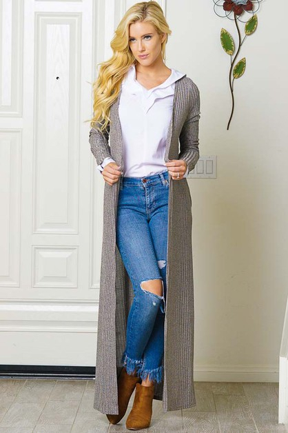 OPEN FRONT LONG CARDIGAN - orangeshine.com