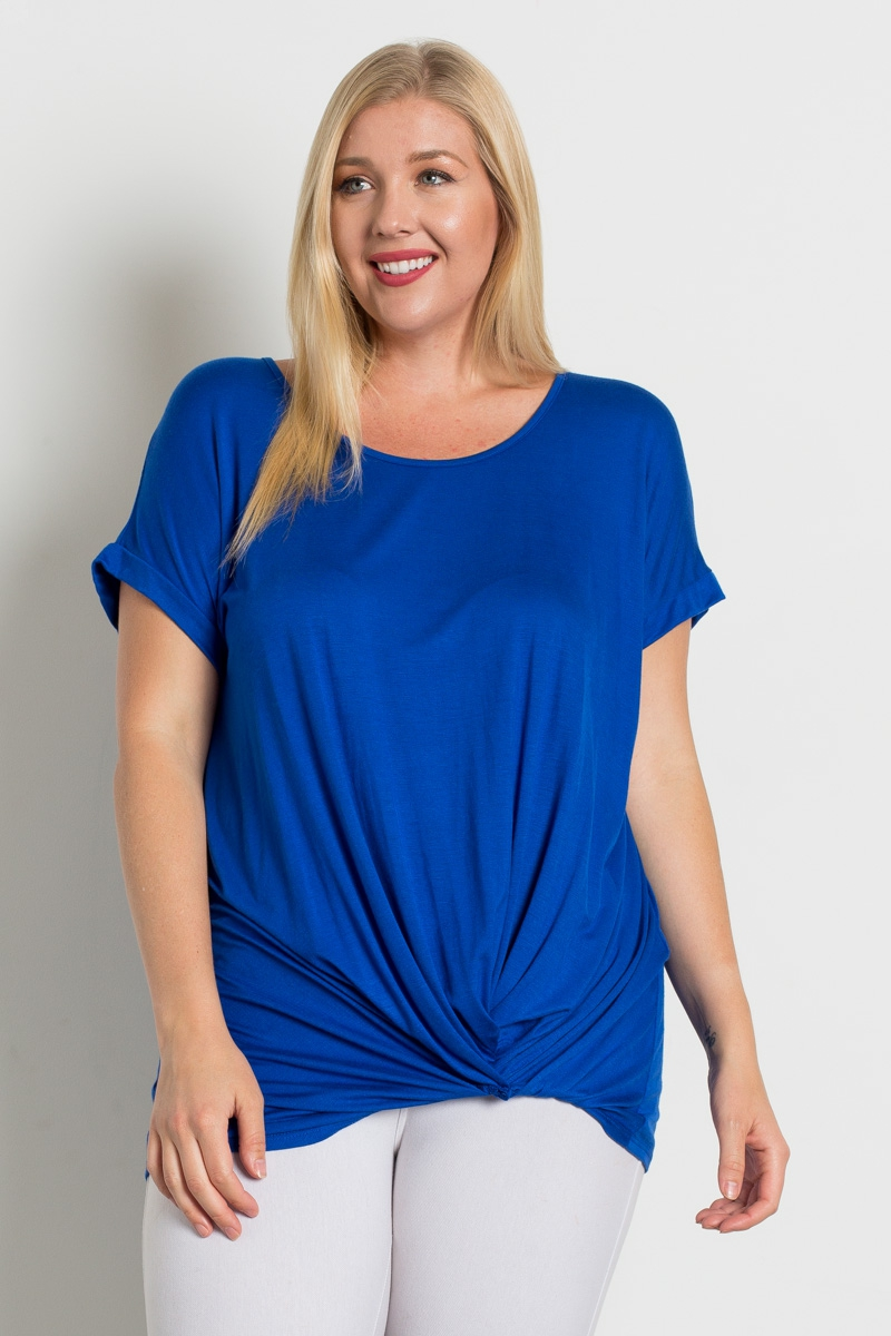 PLUS SIZE TWIST KNOT DETAIL TOP - orangeshine.com