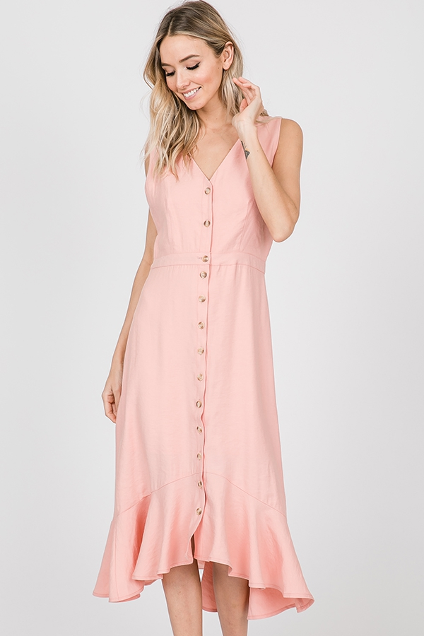 BUTTON DOWN RUFFLED HEM MIDI DRESS - orangeshine.com