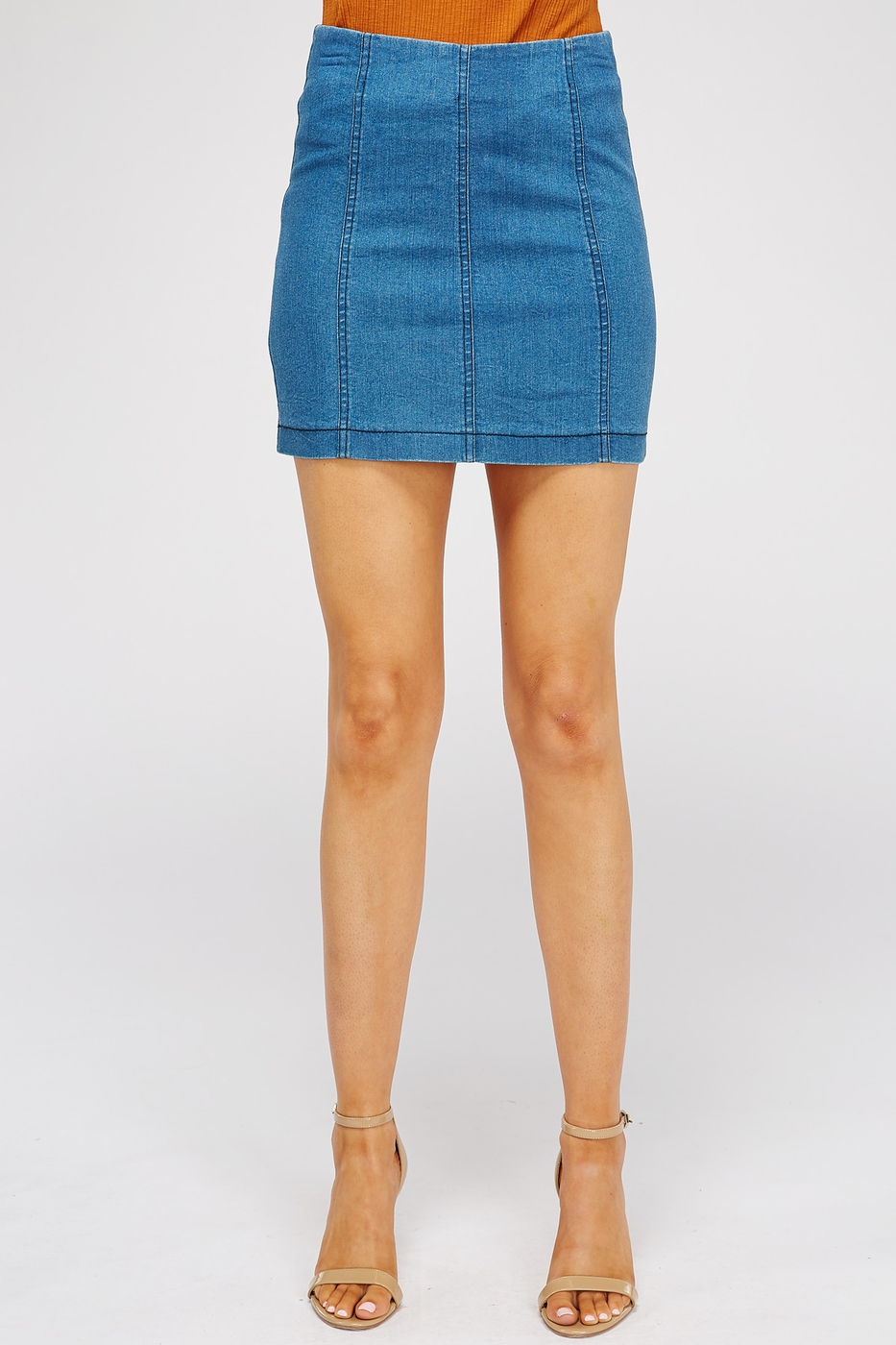 DENIM MINI SKIRT WITH BACK ZIPPER - orangeshine.com