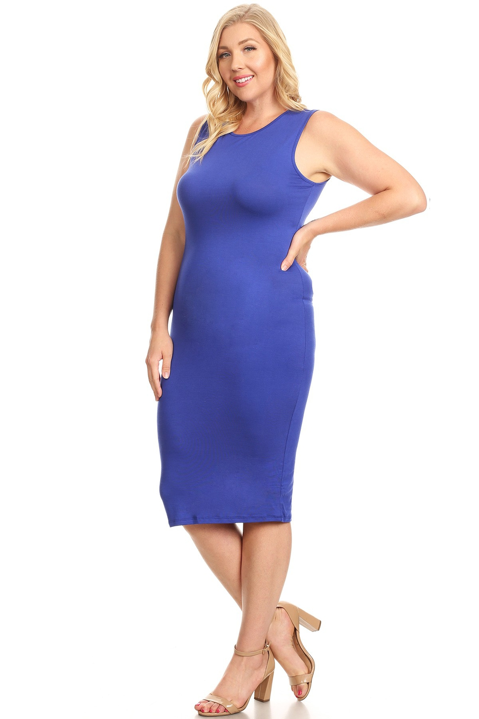 Plus Size Sleeveless Bodycon Dress - orangeshine.com