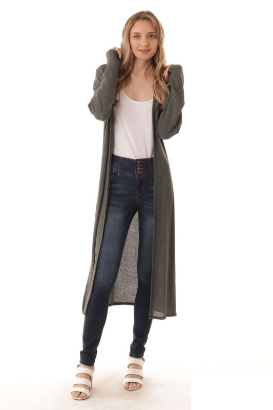 LONG SLVE SIDE SLIT WAFFLE CARDIGAN - orangeshine.com
