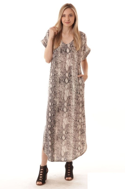 LONG SNAKE PRINT DRESS - orangeshine.com