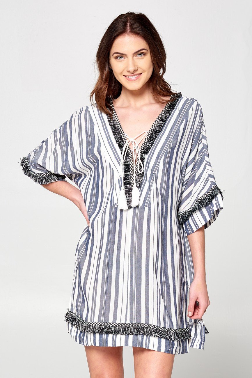 Plus Fringe Stripe Cover-up - orangeshine.com