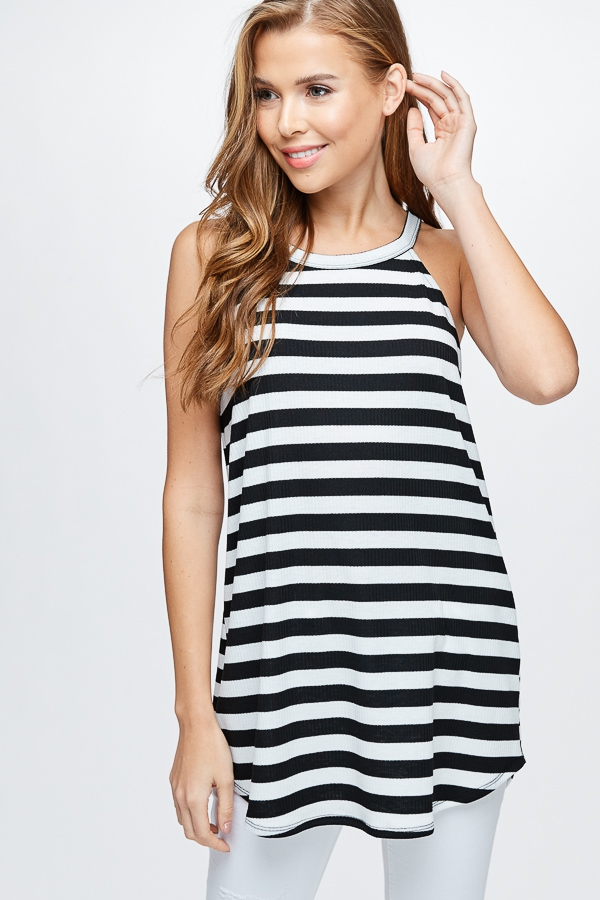 Sleeveless Striped Knit Top - orangeshine.com