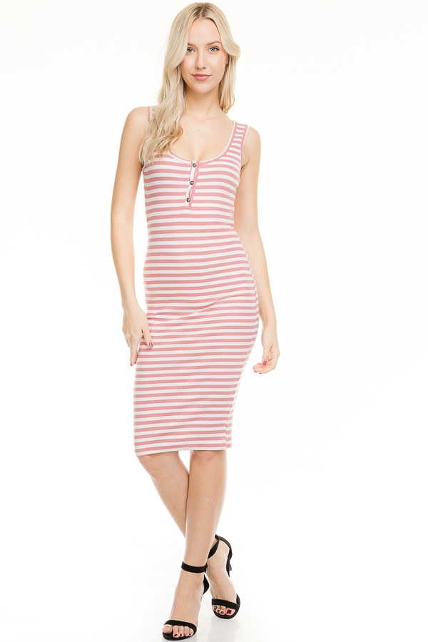 SLEEVELESS STRIPE HENLEY MIDI DRESS - orangeshine.com