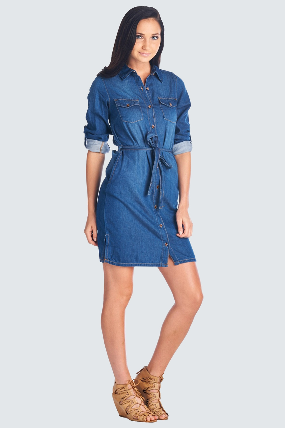 DENIM JEAN SHIRT DRESS - orangeshine.com