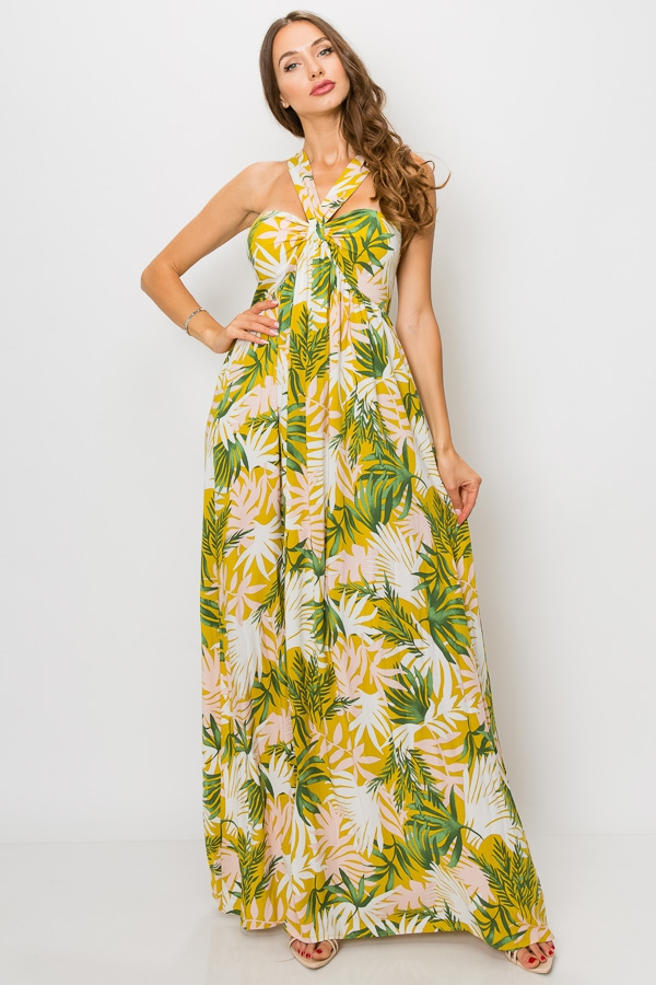 LEAF PRINT HALTER MAXI DRESS - orangeshine.com