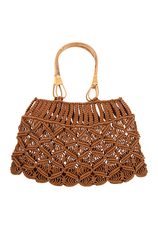 OPNE KNIT CROCHET FASHION BAG WOODEN - orangeshine.com