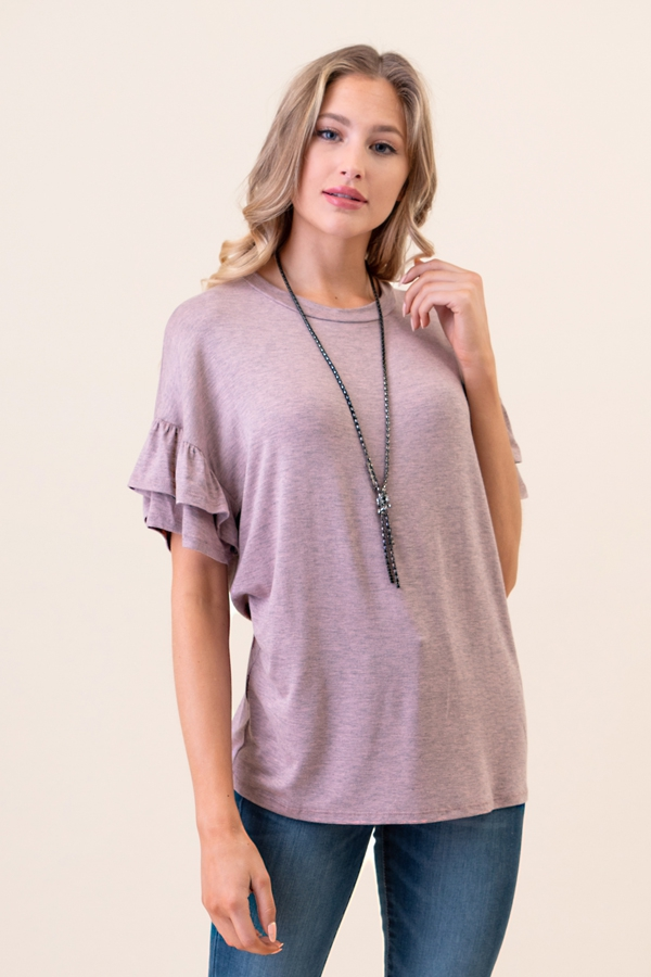Double Ruffle Short Sleeve Top - orangeshine.com