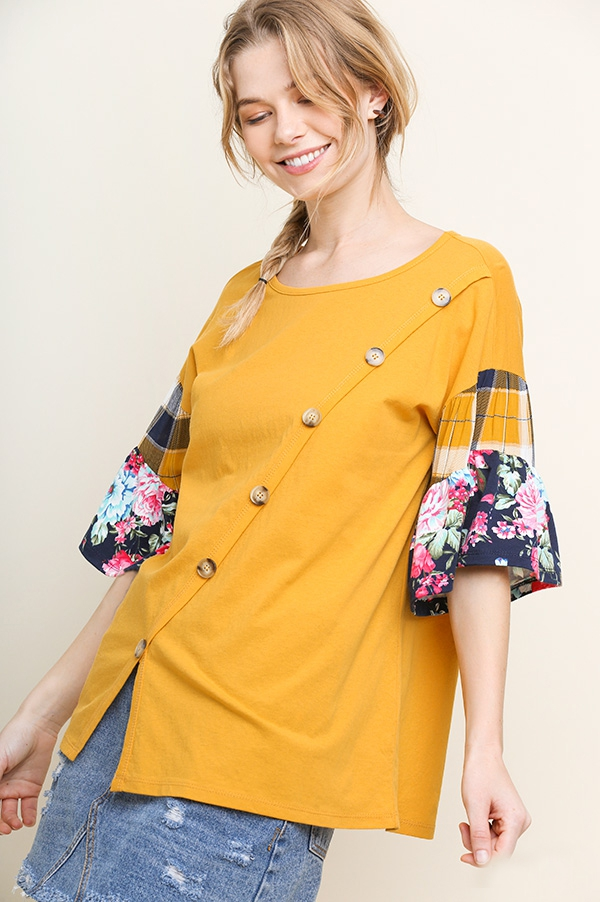 Floral and Plaid Mixed Tiered Top  - orangeshine.com