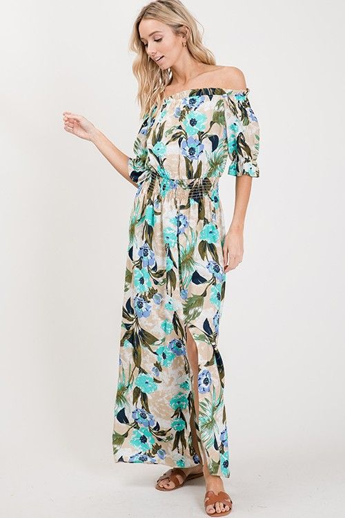 Floral printed woven maxi dress - orangeshine.com