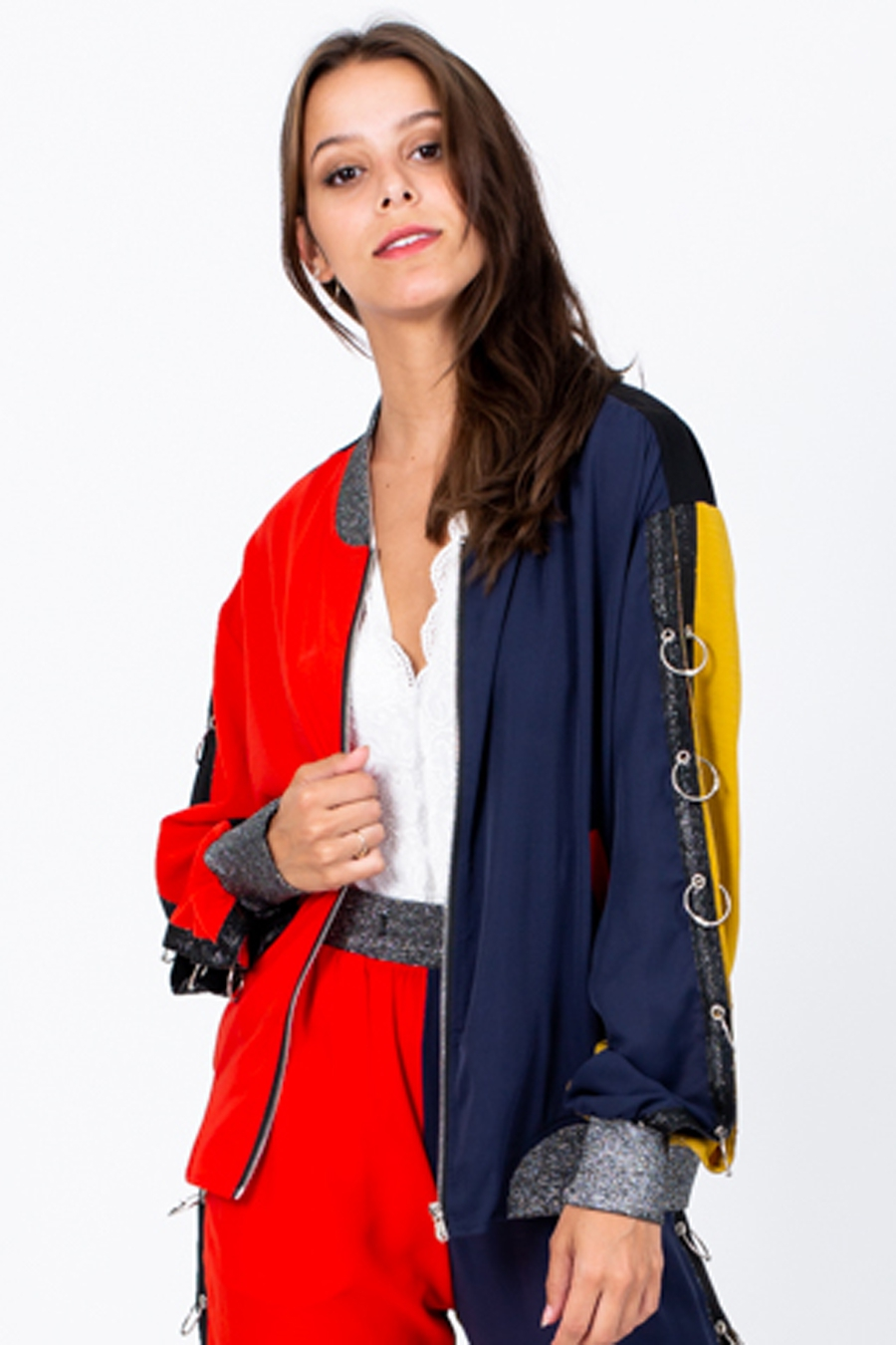 Color Block Zip Up Bomber Jacket - orangeshine.com