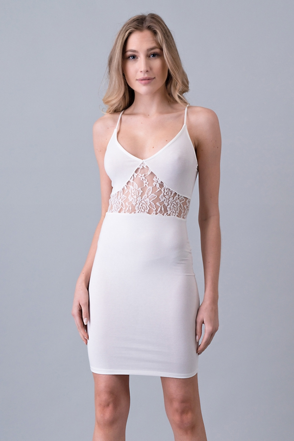 SEE THROUGH LACED BODYCON DRESS - orangeshine.com