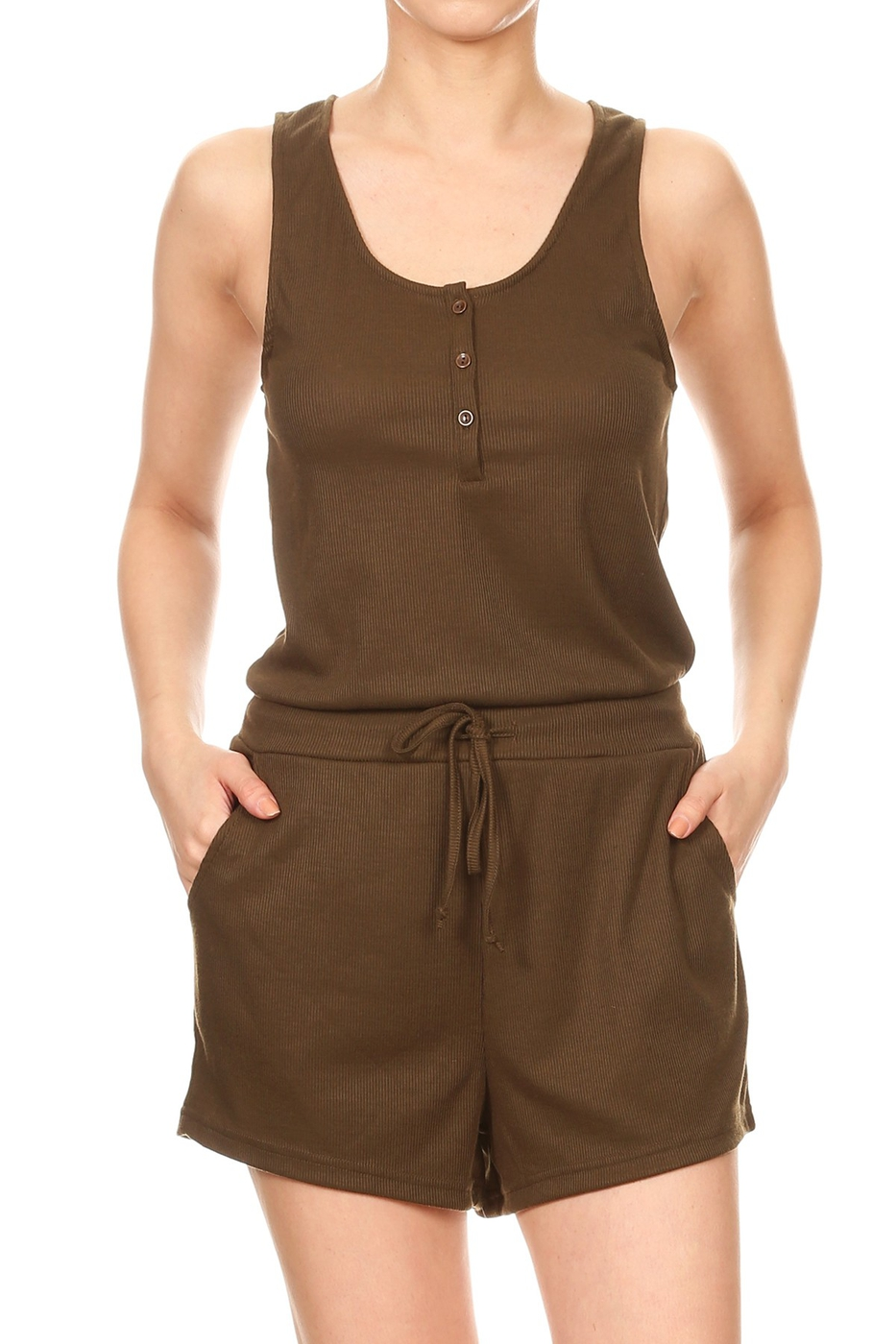 Rib Knit Solid  Rompers Pockets  - orangeshine.com