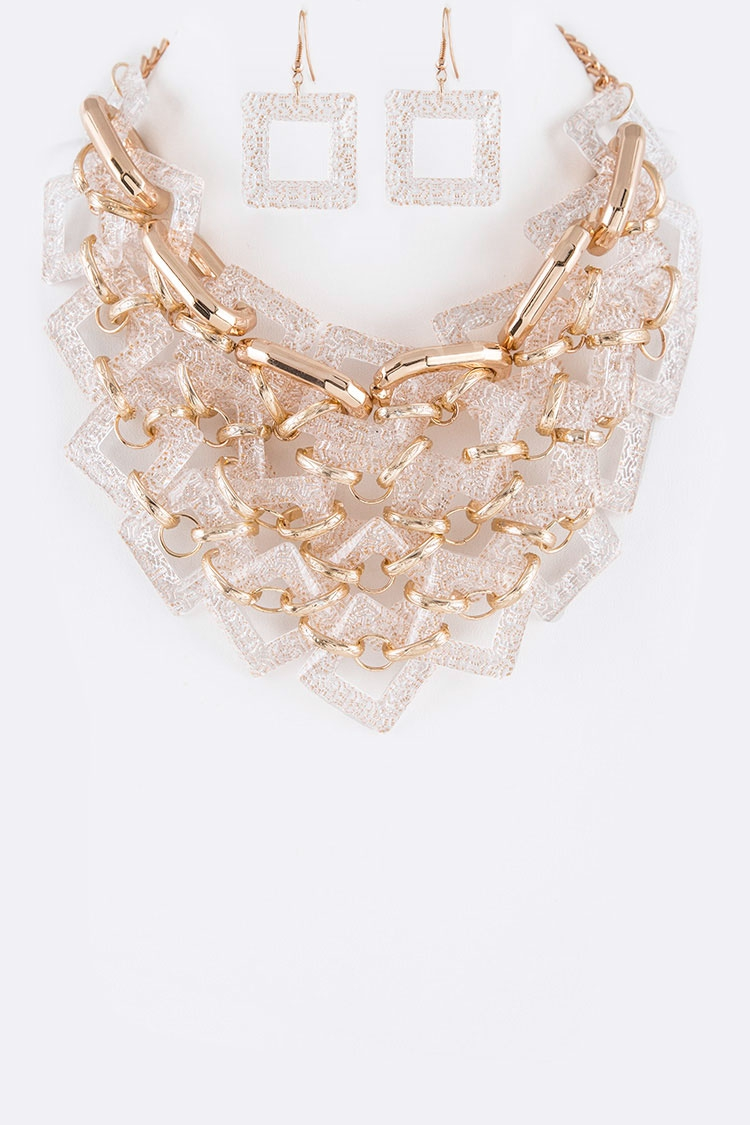 Frosted Acrylic Chain Link Layer Bib - orangeshine.com