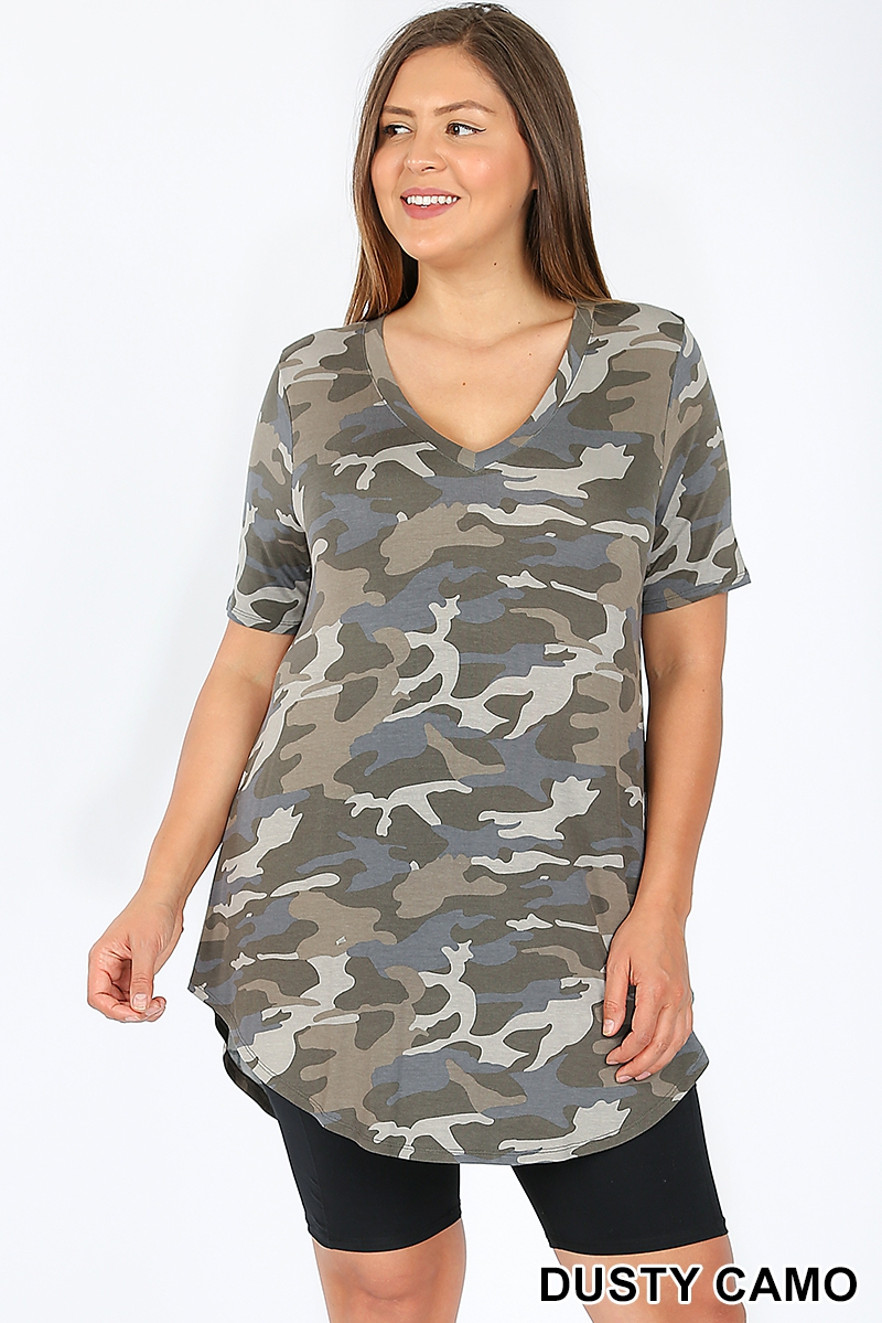 PLUS CAMOUFLAGE PRINT V-NECK TOP - orangeshine.com