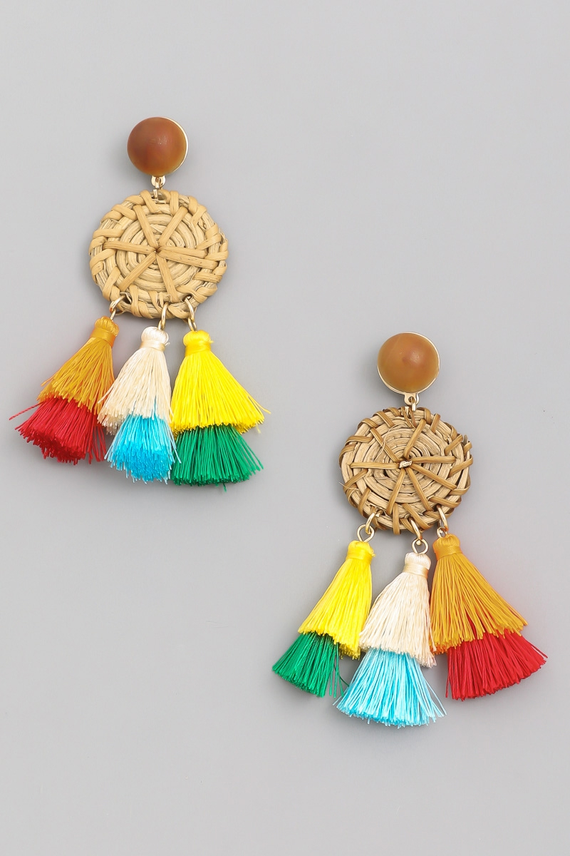Straw Disc Tassel Drop Earrings - orangeshine.com