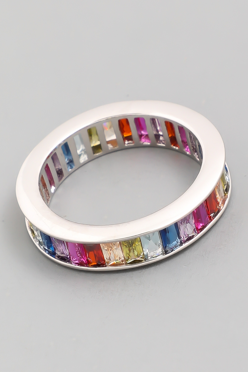 Rainbow Baguette Eternity Ring Band - orangeshine.com