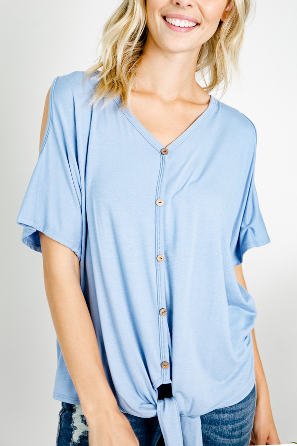 COLD SHOULDER V NECK  TOP - orangeshine.com