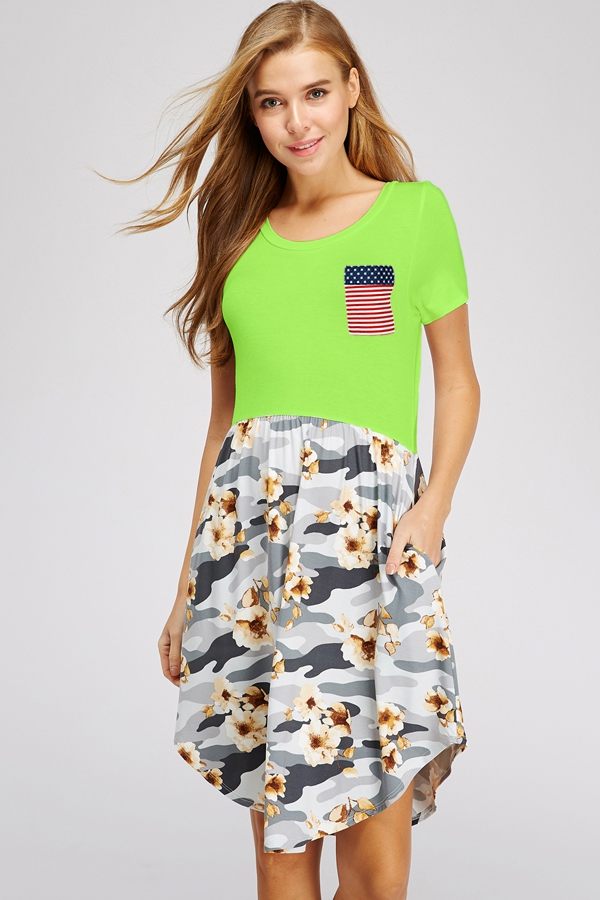 CAMO AMERICAN FLAG POCKET DRESS - orangeshine.com