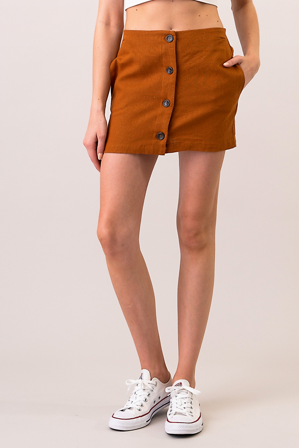 BUTTON FRONT LINEN SKIRT - orangeshine.com