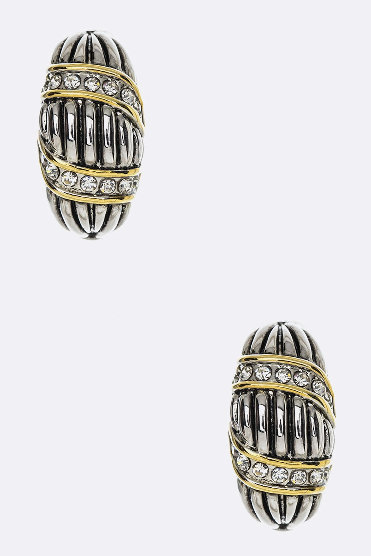 2 Tone Designed French Clip Earrings - orangeshine.com