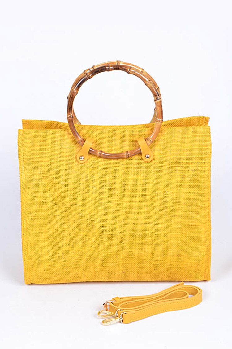 Bamboo Top Handle Straw Tote - orangeshine.com