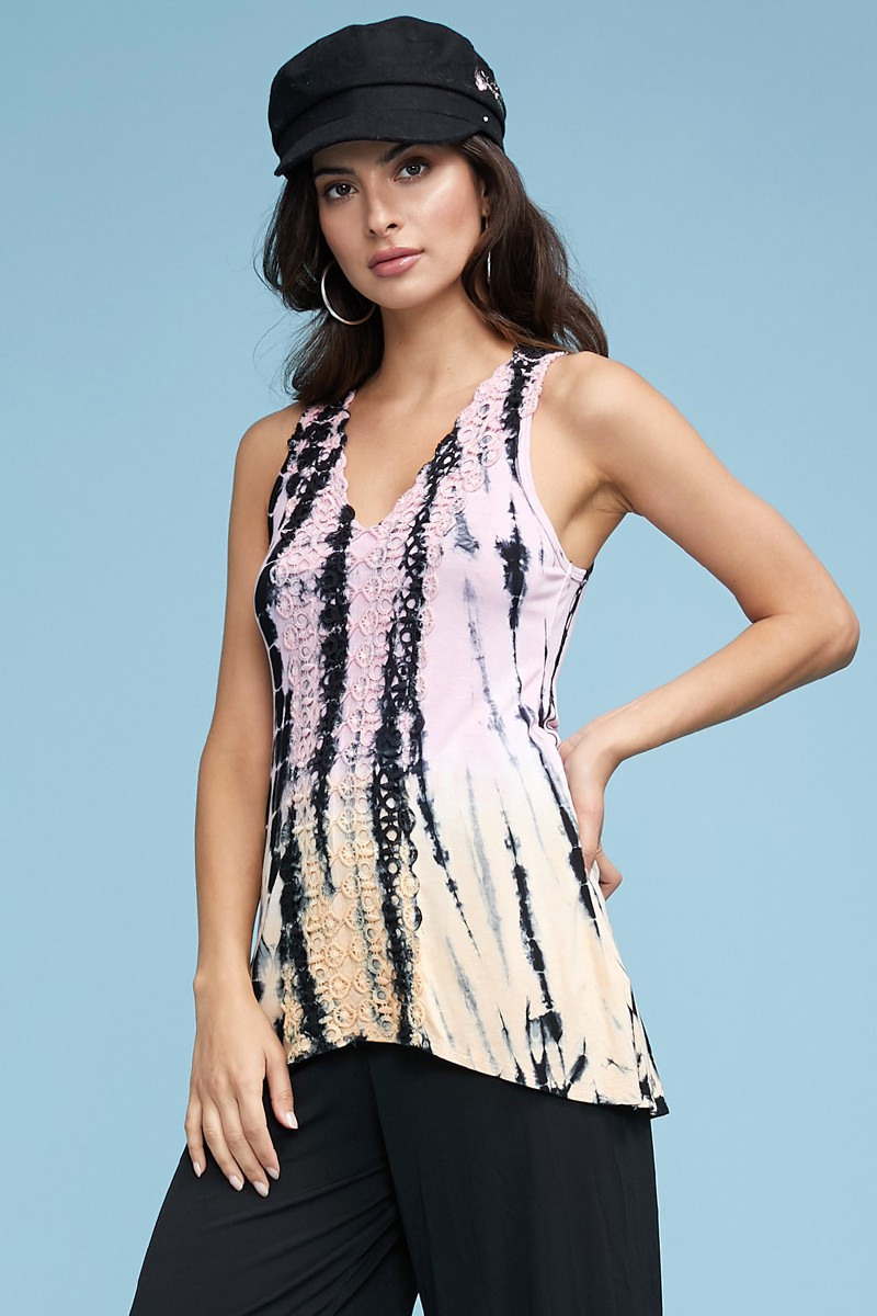 T PARTY LACE TIE DYE SLEEVELESS TOP - orangeshine.com