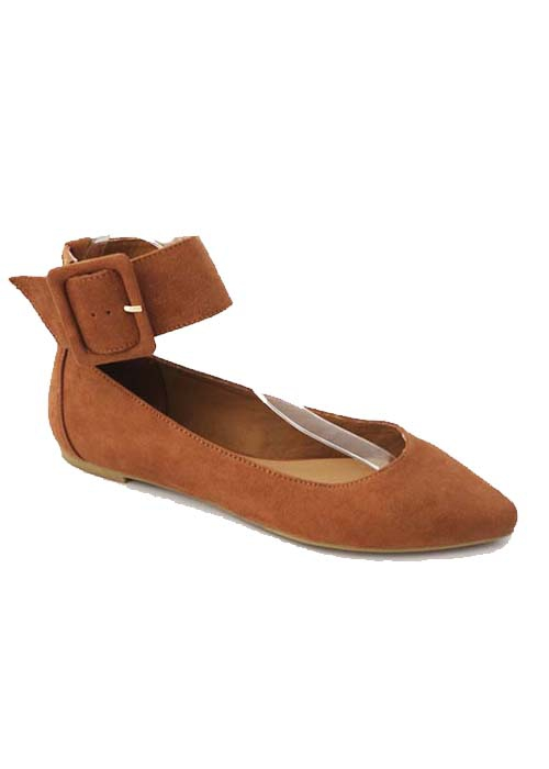 FLAT SLIP ON BALLERINA WITH ANKLE ST - orangeshine.com