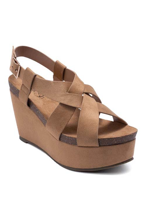 SUEDE CRESS CROSS WEDGE WITH BUCKLE  - orangeshine.com