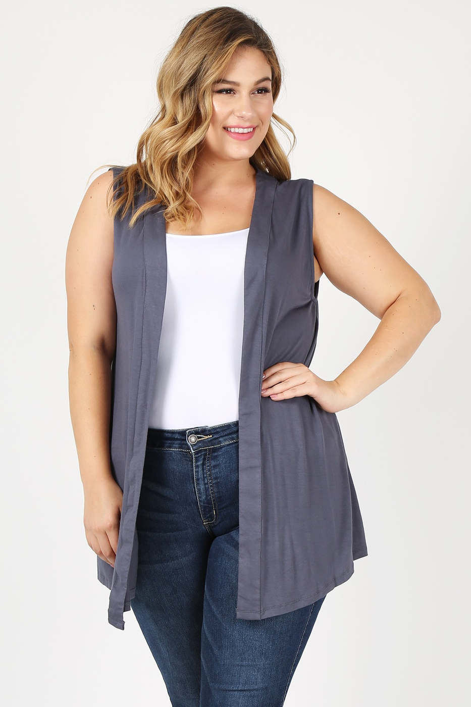 Plus Size Open Front Solid Vest - orangeshine.com