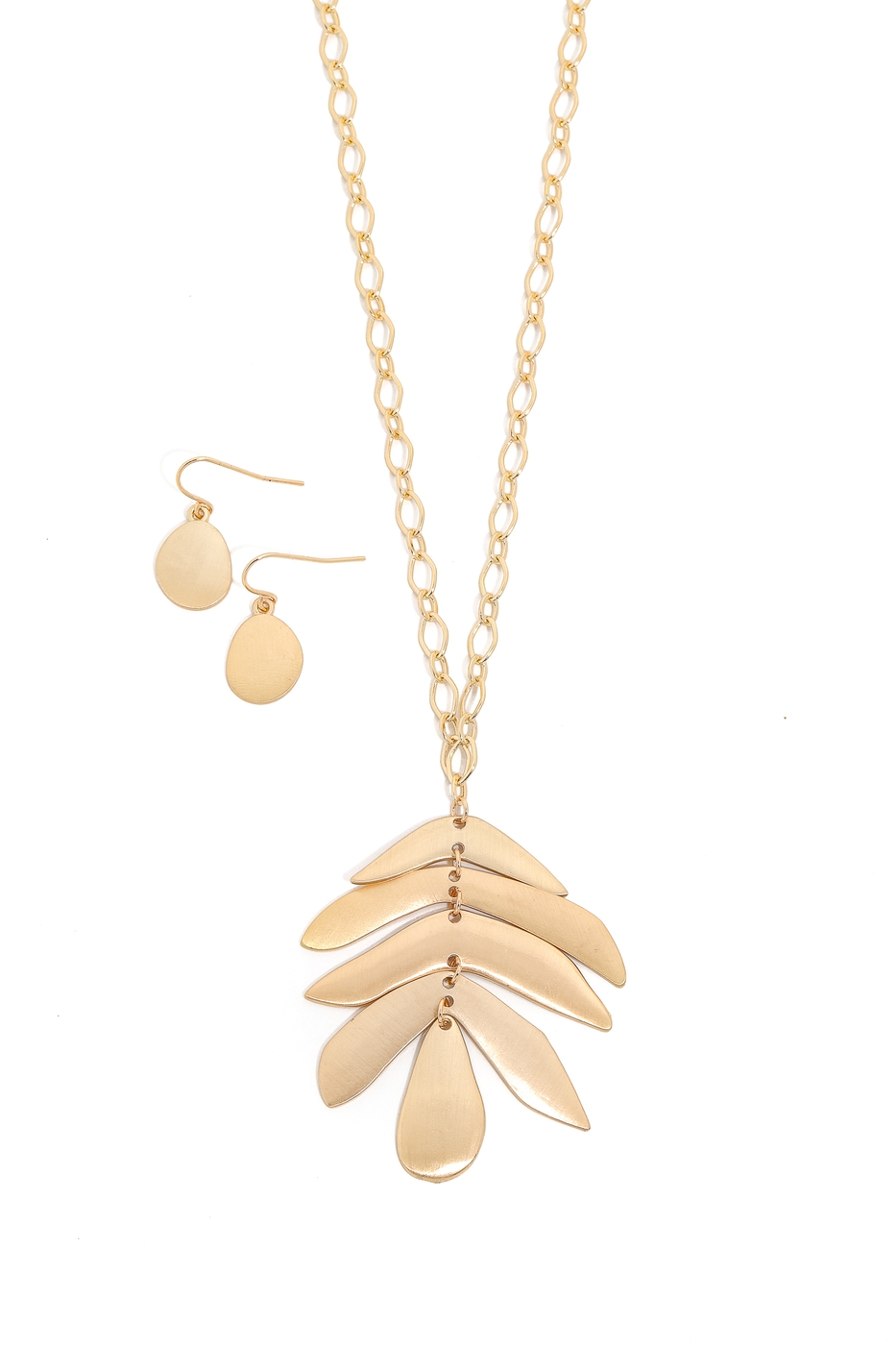 Metallic Tiered Leaf Charm Necklace - orangeshine.com