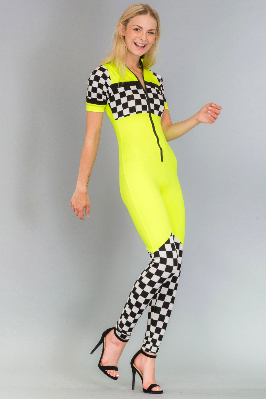 Check Panel Racing Jumpsuit - orangeshine.com