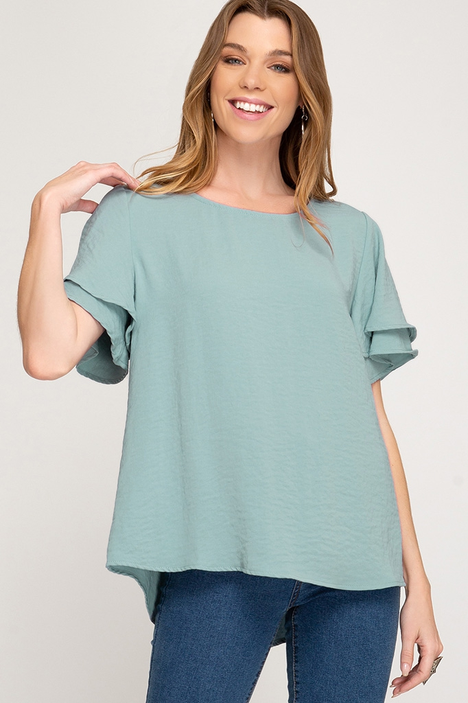 HALF DOUBLE FLUTTER SLEEVE TOP - orangeshine.com