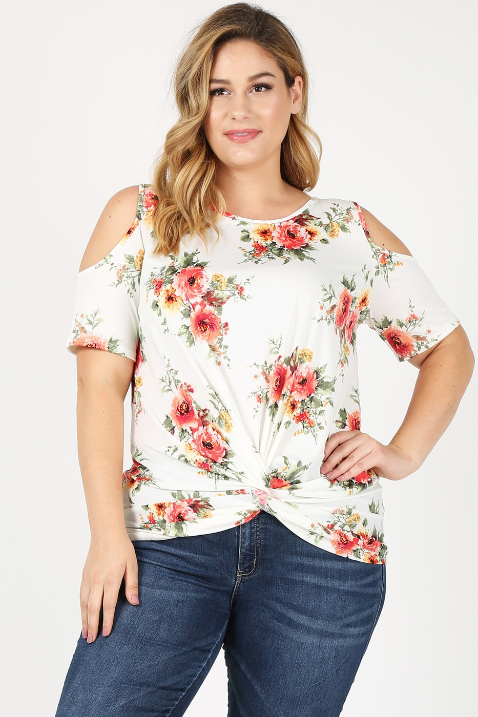 Floral PRT Cold SLv Twist Knot Top - orangeshine.com